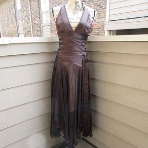 Chocolate silk satin halter Dress lined sz 4